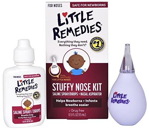 Little Remedies Stuffy Nose Kit | Saline Spray/Drops & Aspirator