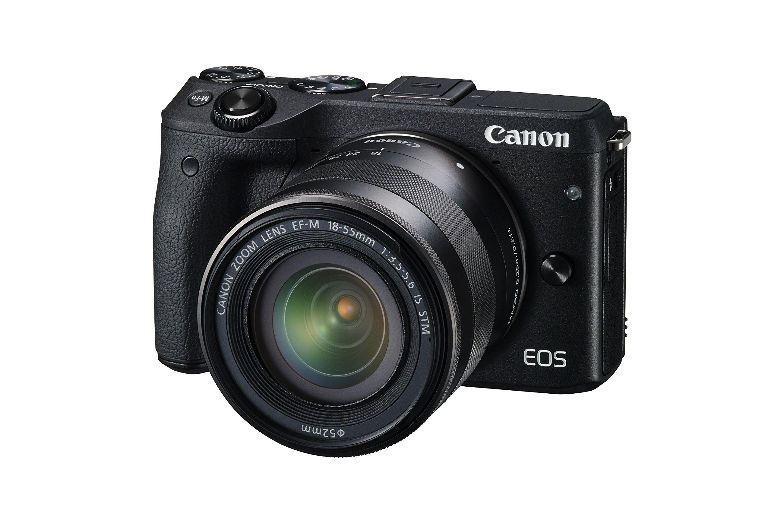 Canon EOS M3 Kit Fotocamera Mirrorless da 24 Megapixel con Obiettivo EF-M 18-55 mm, View Finder, Mirino Elettronico EVF-DC1, Versione EU, Nero product image