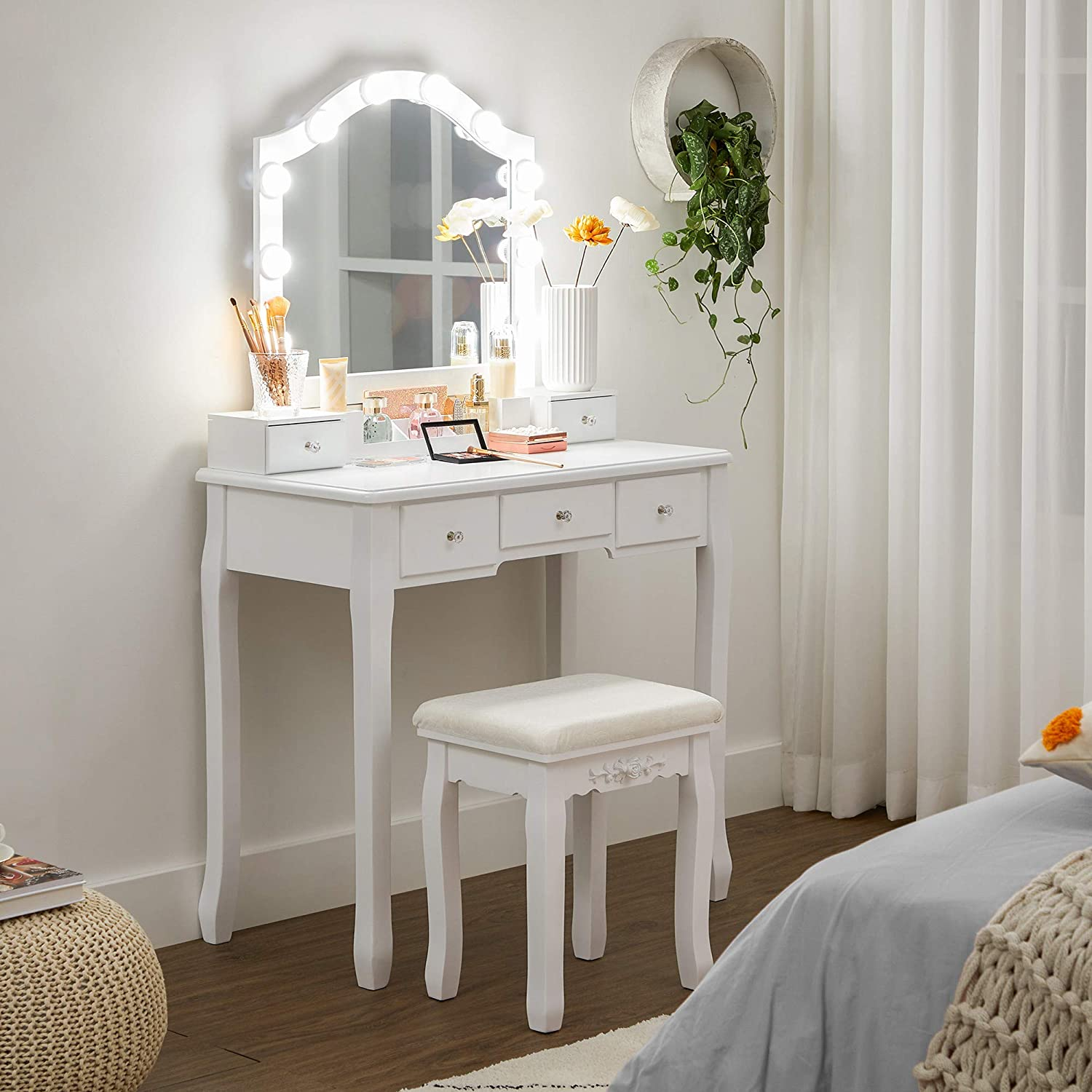 1 Drawer Divider Makeup Table Set with Cushioned Stool 5 Drawers for Bedroom VASAGLE Dressing Table Set 6-Slot Removable Organiser 10 Dimmable Light Bulbs Gift Idea White RDT191W01