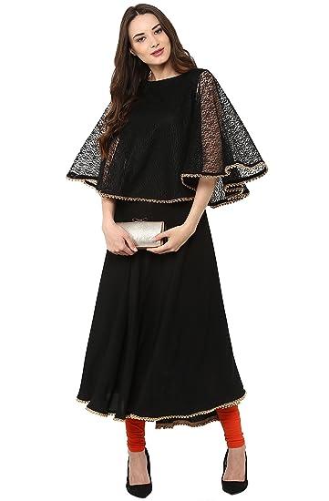 7b28561b1b9 Janasya Women Indian Embellished Crepe Sleeveless A-Line Kurti Kurta ...