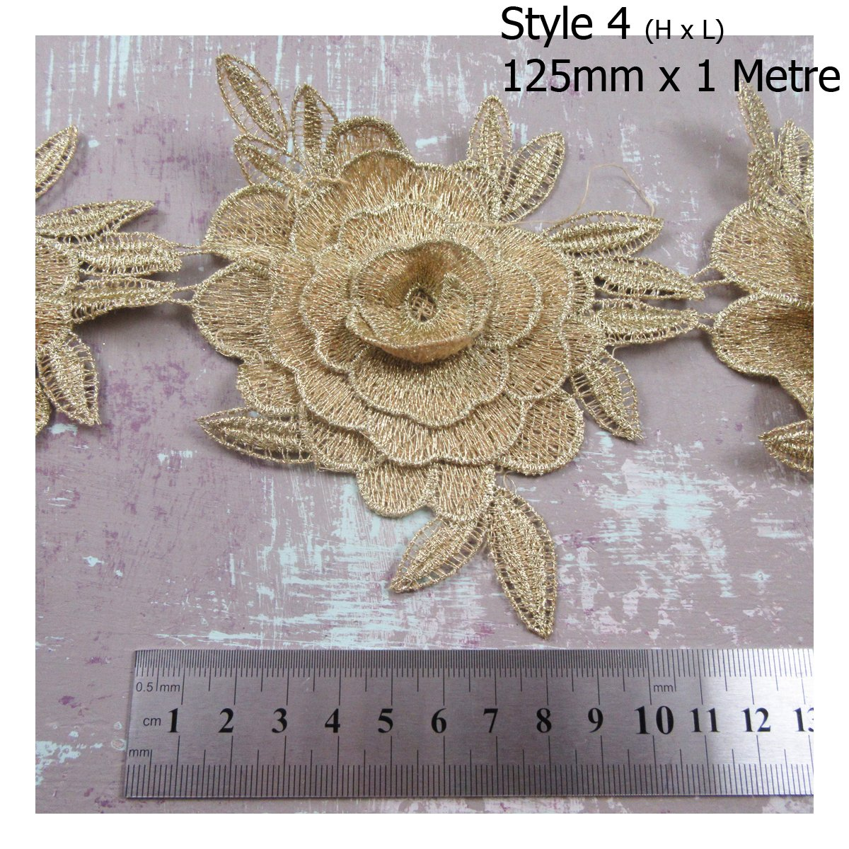1 METRE GOLD LACE TRIMMING *4 DESIGNS* SEWING HABERSDASHERY TRIM DRESSMAKING (Style 2 (H3280))