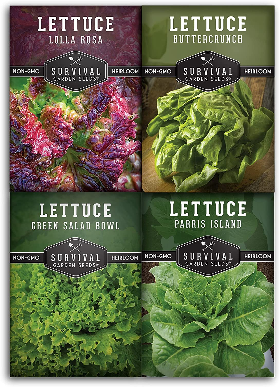 Survival Garden Seeds Lettuce Collection Seed Vault -Buttercrunch, Green Salad Bowl, Lolla Rosa, Parris Island, Iceberg Non-GMO Heirloom Seeds for Planting & Growing