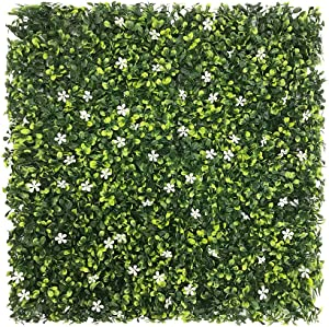 """ECOOPTS 20"""" x 20""""Artificial Ivy Fence Greenery Panel Laurel Boxwood for Outdor Indoor Backyard Garden Privacy Fence Ivy Screen Jasmine Flower 6 Pieces"""