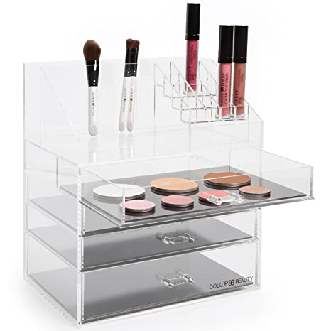 Dollup Beauty New Makeup Organizer with 4 Magnetic Palette Drawers! Premium  Large Acrylic Box. Pro Vanity Case.