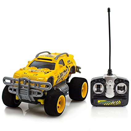 Battery Operated 4 Turbo Monster Truck Radio Control Yellow Toy Car, 27mhz Supersensitive remote control