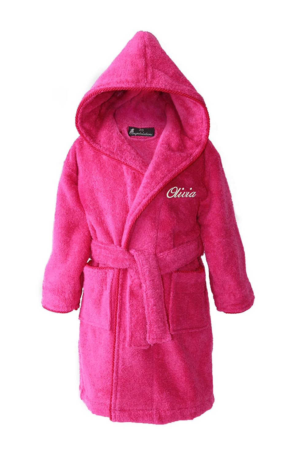 Harlequin Designs Personalised Children's Hooded Toweling Bathrobe - Hot Pink - Ages 2 to 12
