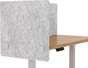 """VaRoom Acoustic Partition, Sound Absorbing Desk Divider – 30"""" W x 24""""H Privacy Desk Mounted Cubicle Panel, Iced Grey"""
