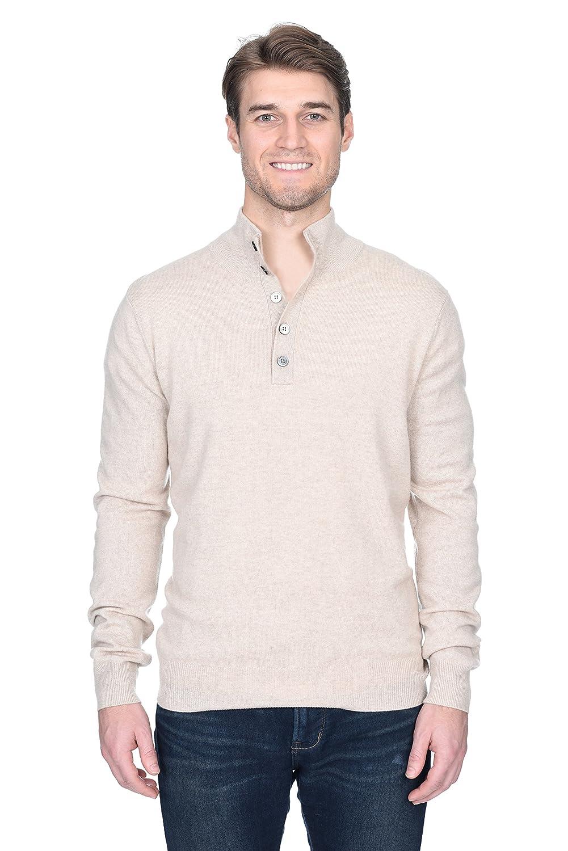 Amazon State Fusio Mens Cashmere Wool Button Mock Neck