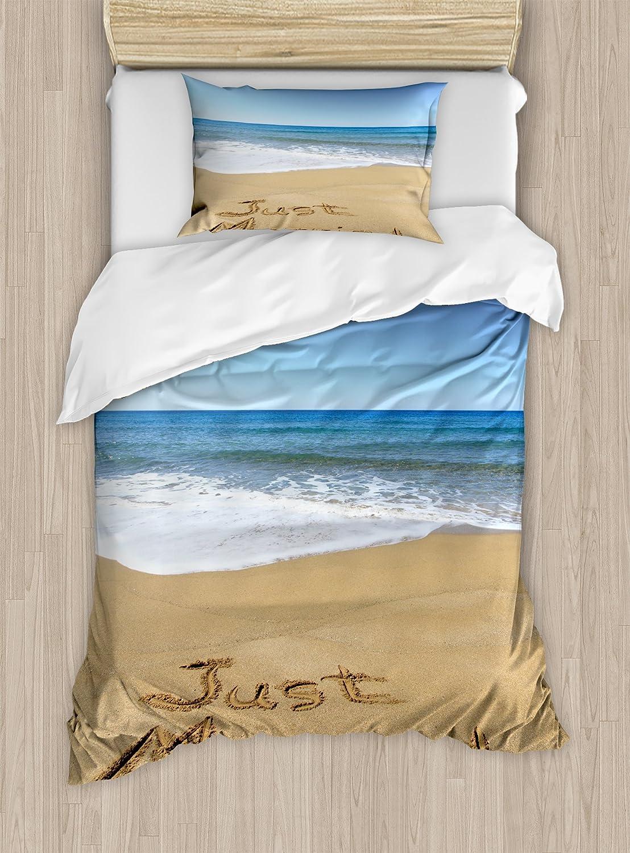Ambesonne Wedding Duvet Cover Set, Just Married Written on Sandy Beach Ocean Waves Romantic Photo Celebration, Decorative 2 Piece Bedding Set with 1 Pillow Sham, Twin Size, Blue Sand