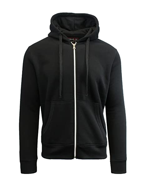 e859f46704a9 Galaxy by Harvic Full Zip Fleece Hoodie Sweatshirts for Men - Ribbed Cuffs  - Black
