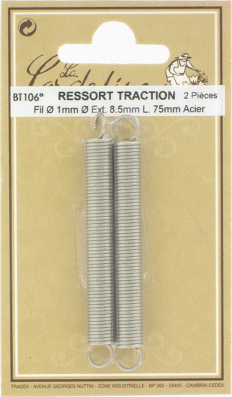 Ressort traction - Longueur 75 mm - Diamè tre Fil : 1 mm - Exté rieur : 8, 5 mm - Vendu par 2 Générique