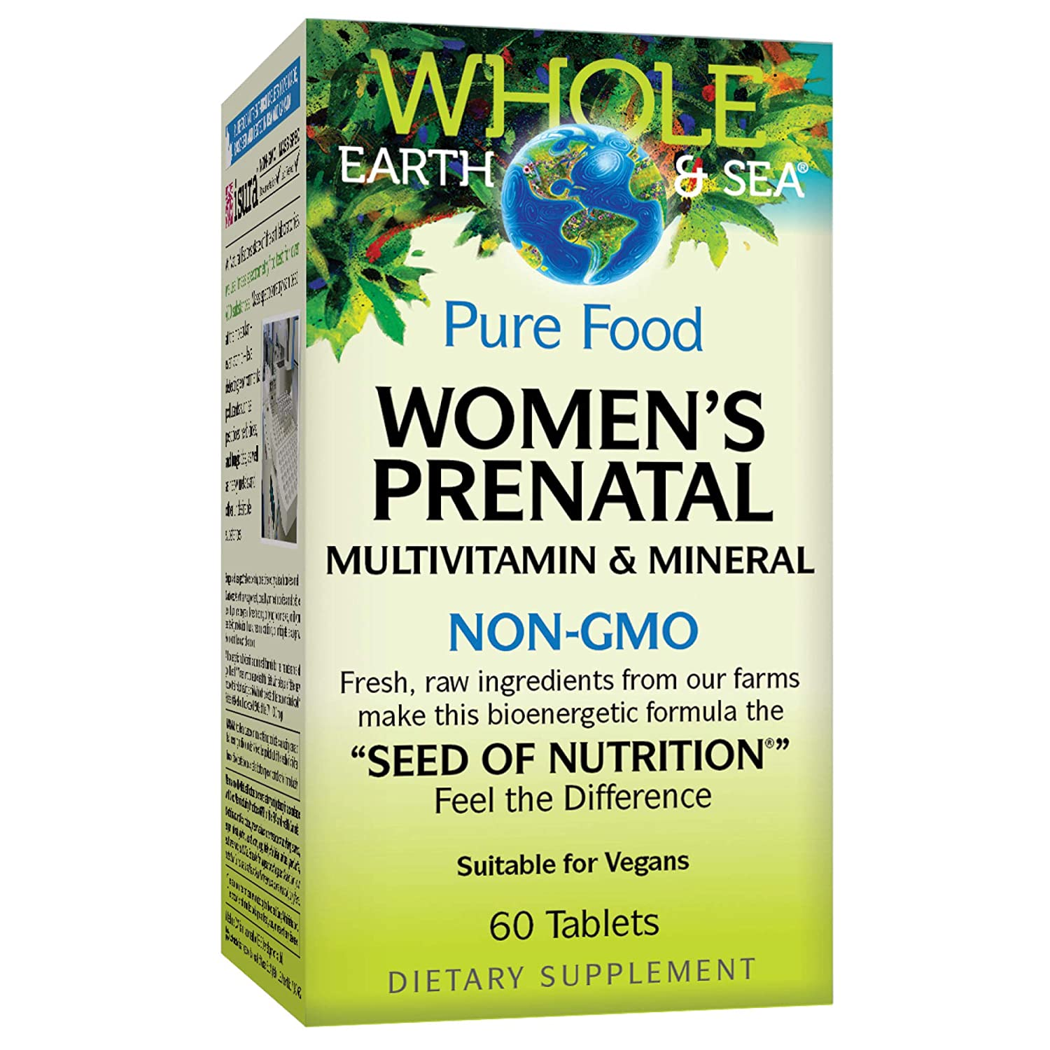 Whole Earth & Sea from Natural Factors, Women's Prenatal Multivitamin and Mineral, Whole Food Supplement, Vegan and Gluten Free, 60 Tablets (30 Servings)