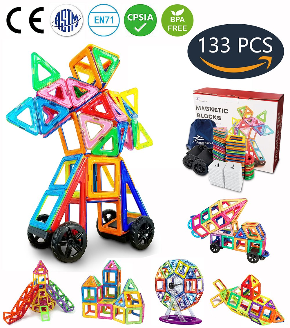 Jasonwell 133 Pieces Creative Magnetic Building Blocks for Boys Girls Magnetic Tiles Building Set Preschool Educational Construction Kit Magnet Stacking Toys Christmas Gift for Kids Toddlers Children Review