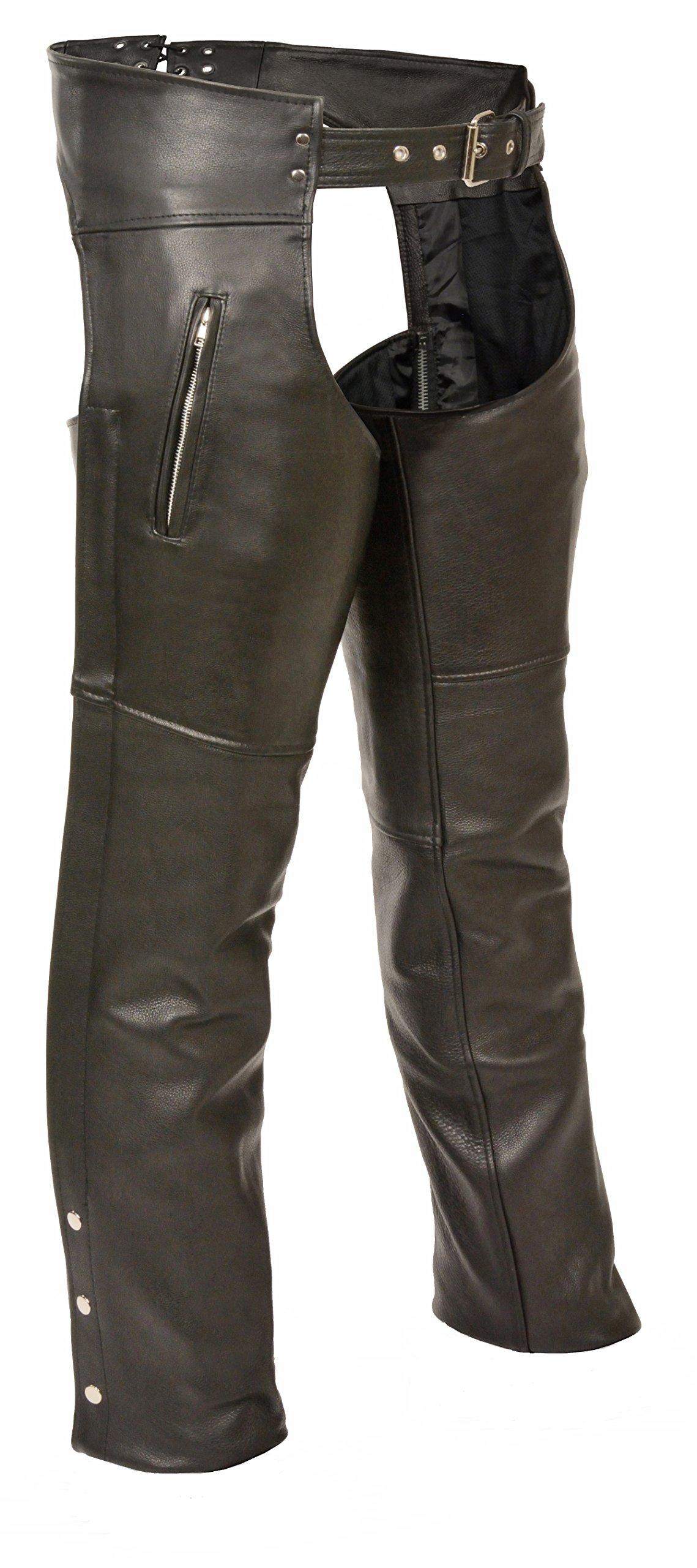 Milwaukee Zippered Thigh Pocket Leather Chaps (Black, XX-Small)