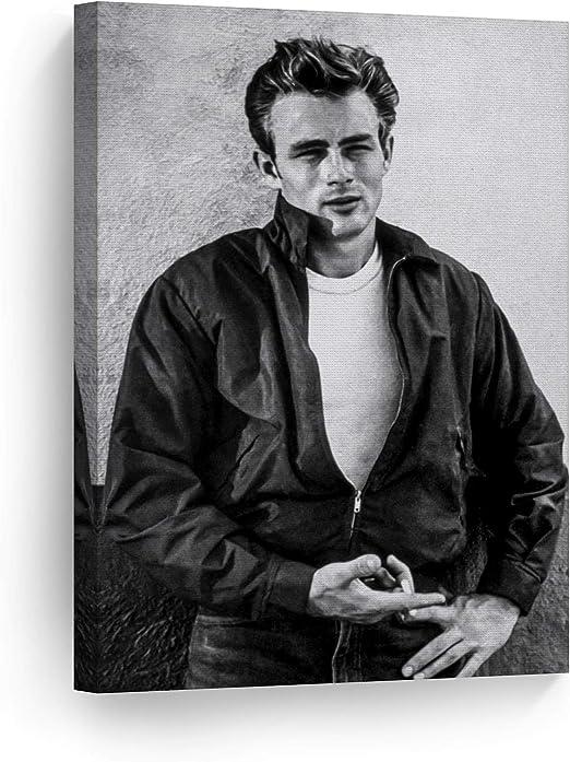 LARGE JAMES DEAN CANVAS ART PRINT BLACK AND WHITE 30x20