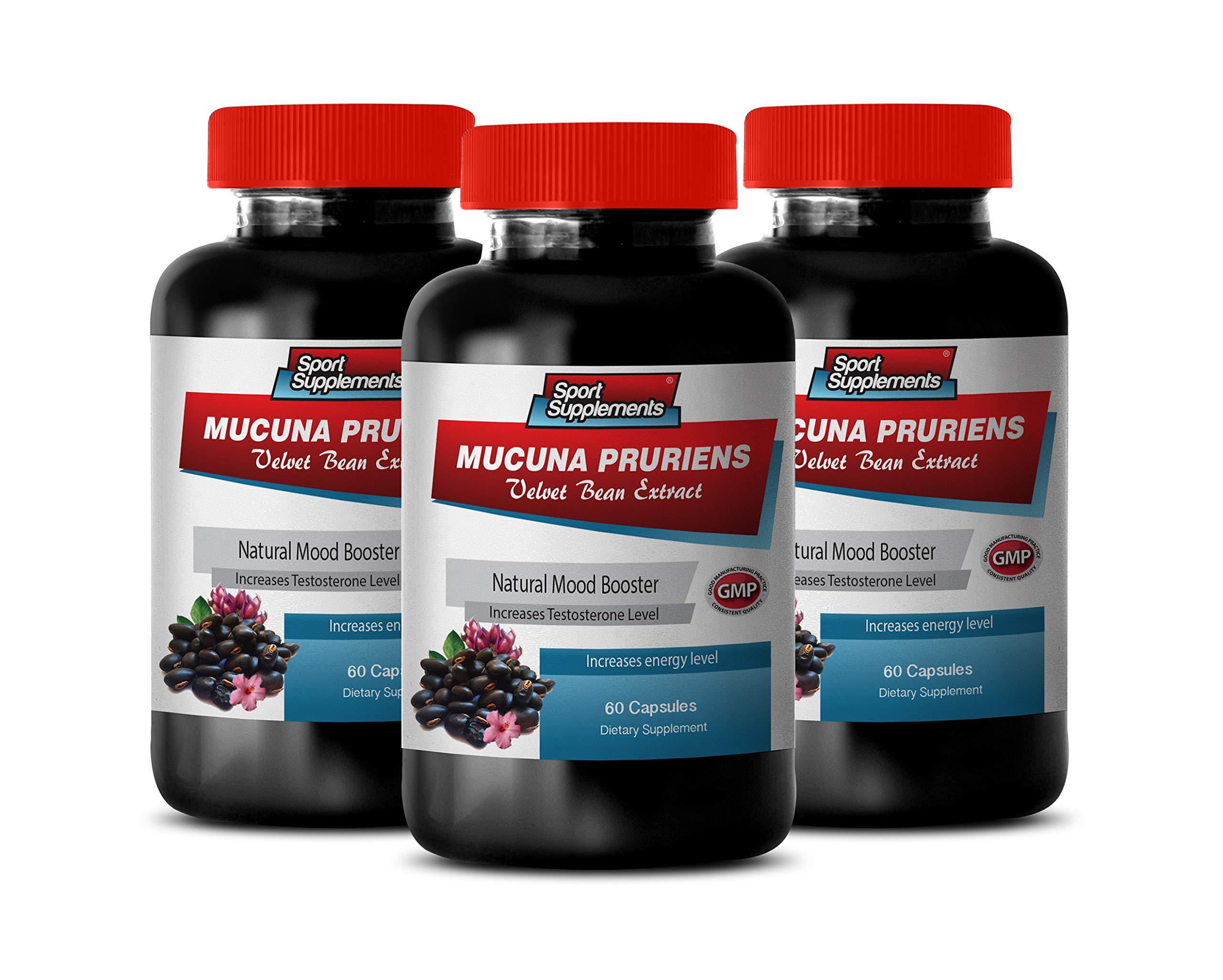 Stress Supplements for Women - MUCUNA PRURIENS Velvet Beans Extract - antioxidant Vitamins for Men - 3 Bottles 180 Capsules