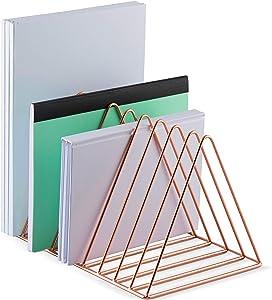 Mindspace Triangle File Holder | Mail Sorter Desktop Folder Organizer | Rose Gold Desk Organizer, Wire Collection