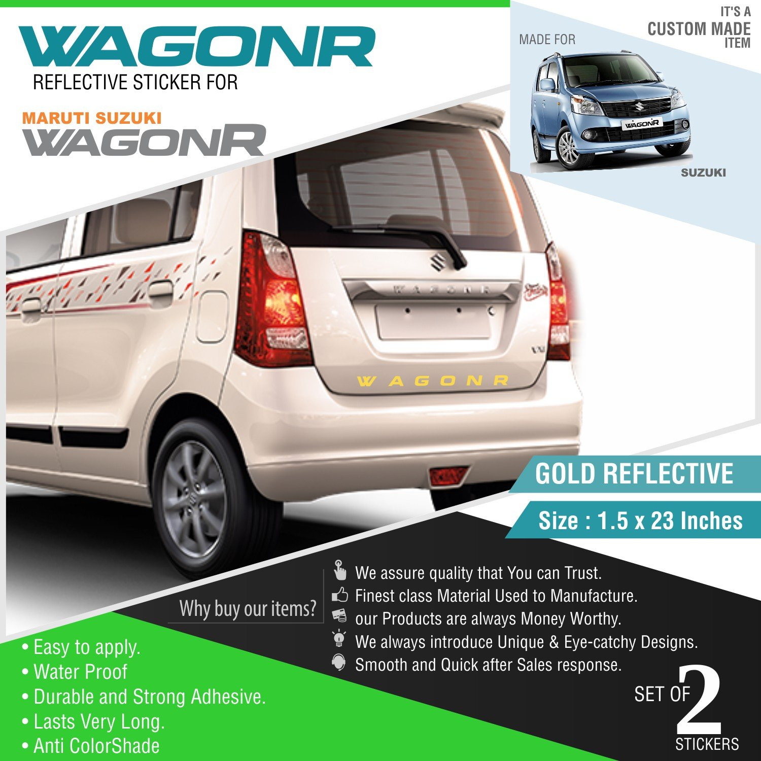 Carmetics wagonr reflective sticker for wagonr2 gold stickers for front and rear amazon in car motorbike