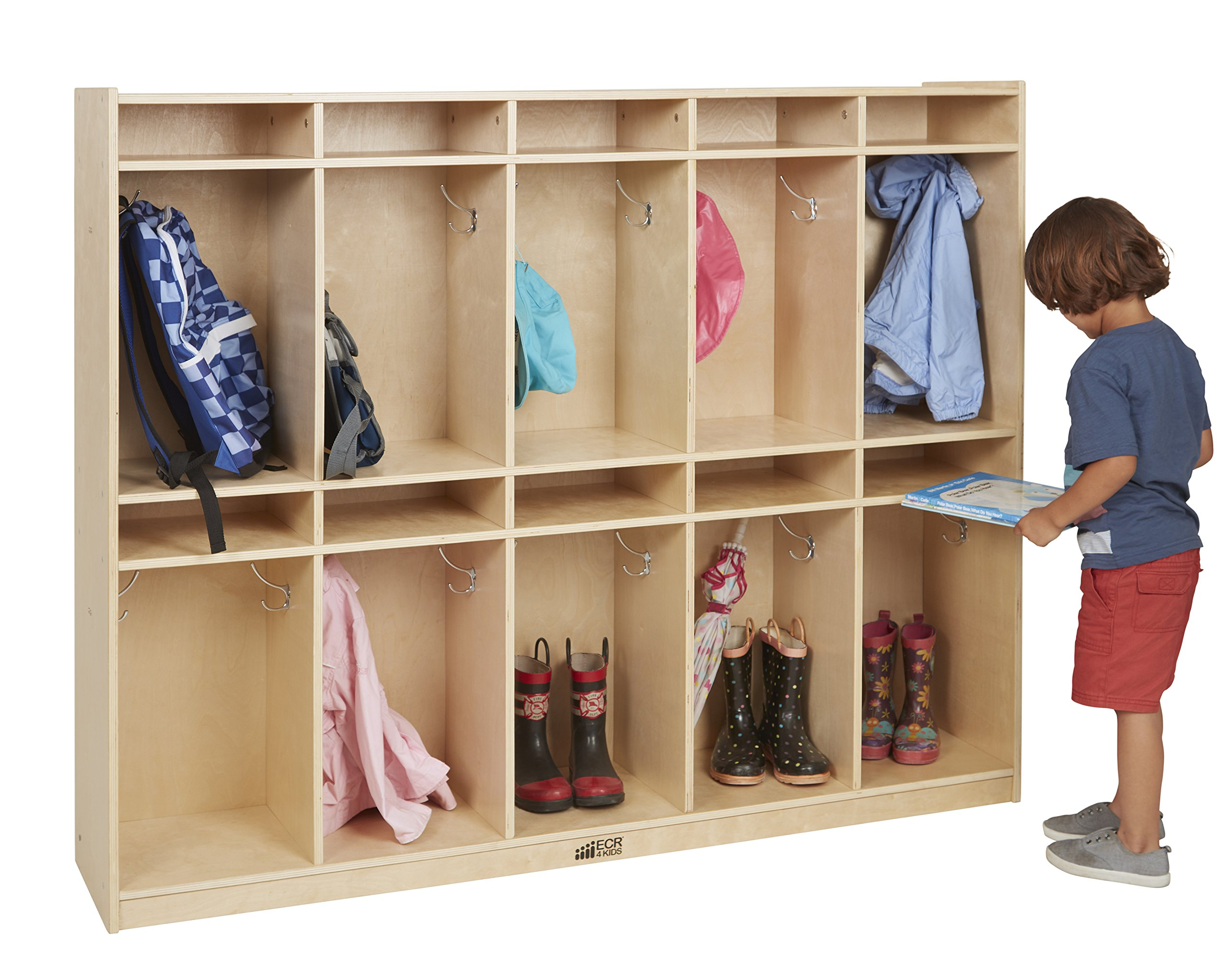 ECR4Kids Birch 10-Section School Classroom Coat Locker for Storage with Hooks by ECR4Kids