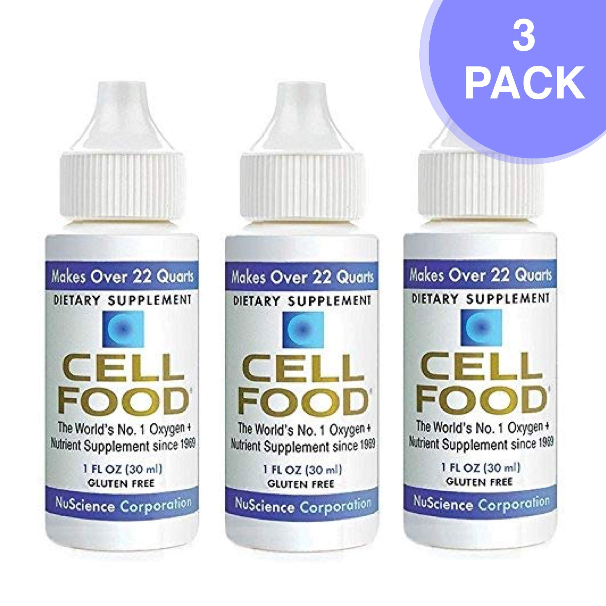 Cellfood Liquid Concentrate, 1 Oz. Bottle (Pack of 3) - Original Oxygenating Formula Containing Seaweed Sourced Minerals, Enzymes, Amino Acids, Electrolytes, Superior Absorption- Gluten Free, GMO Free