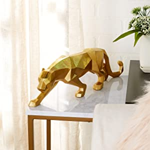 """CosmoLiving by Cosmopolitan 79938 Large Modern Style Metallic Gold Leopard Statue Table Decor 