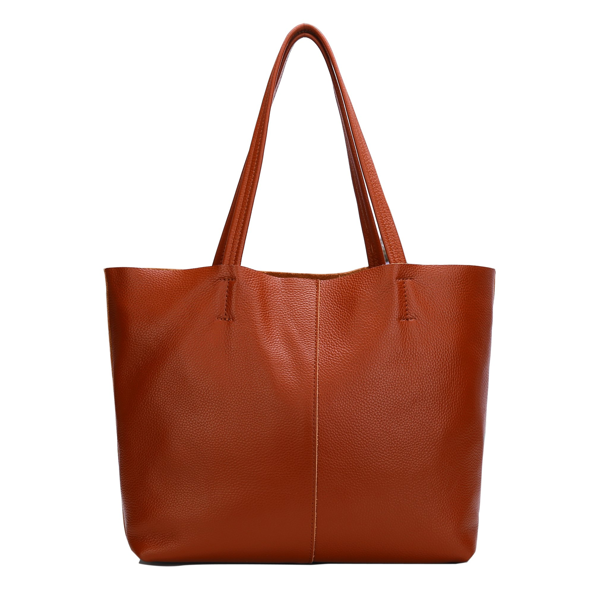Damero Women's Soft Vintage Leather Shoulder Bag with Removable Lining (Medium, Brown)