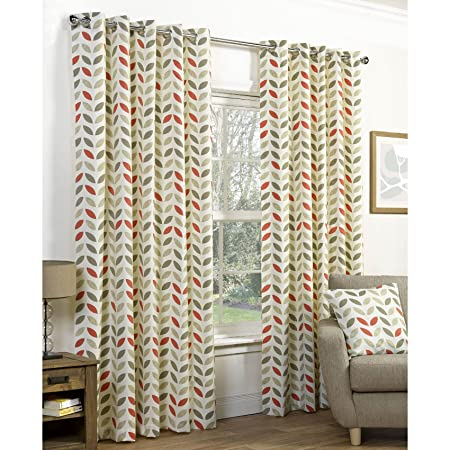 neo retro curtains with print mochaorange 46 width x 72 drop - Retro Curtains