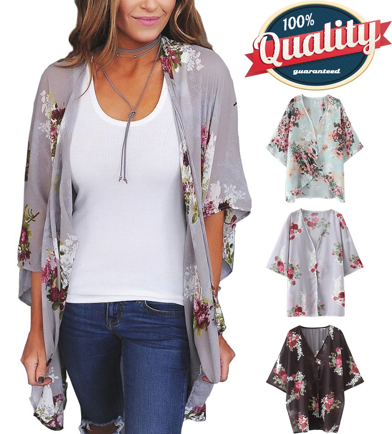 YnimioAOX Women's 3/4 Sleeve Floral Kimono Casual Cardigan Sheer Loose Shawl Chiffon Beach Cover up (B-Lavender Gray, M)