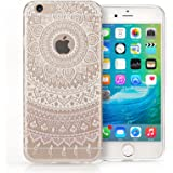 Yousave Accessories iPhone 6S / 6 Case - Clear TPU Gel Cover with White Mandala Printed Pattern