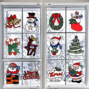 12 Pcs Christmas Window Stickers, Holiday Decal Clings Decorations, Gel Xmas Window Decors