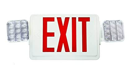 nicor lighting remote capable led emergency exit sign with dual rh amazon com