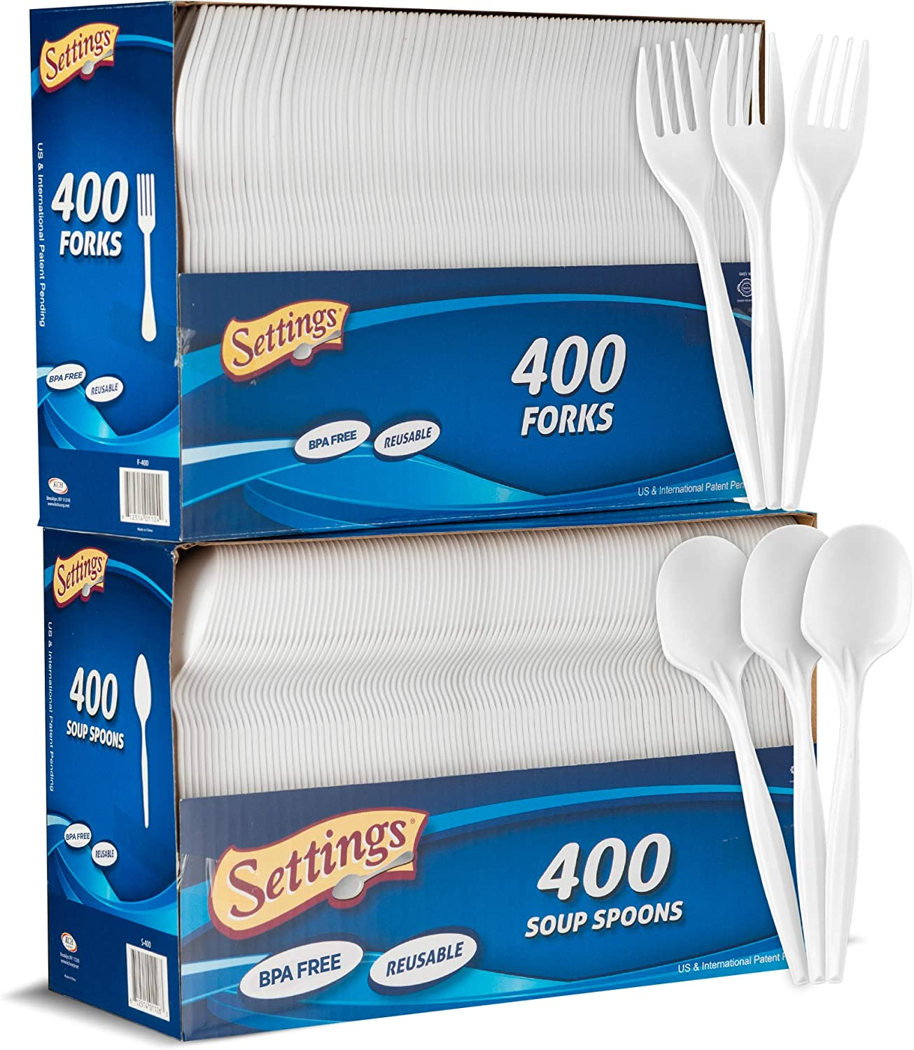 Settings Plastic White 400 Forks And 400 Spoons, Practical Disposable Cutlery, Great For Home, Office, School, Party, Picnics, Restaurant, Take-out Fast Food, Outdoor Events, Or Every Day Use, 2 Boxes