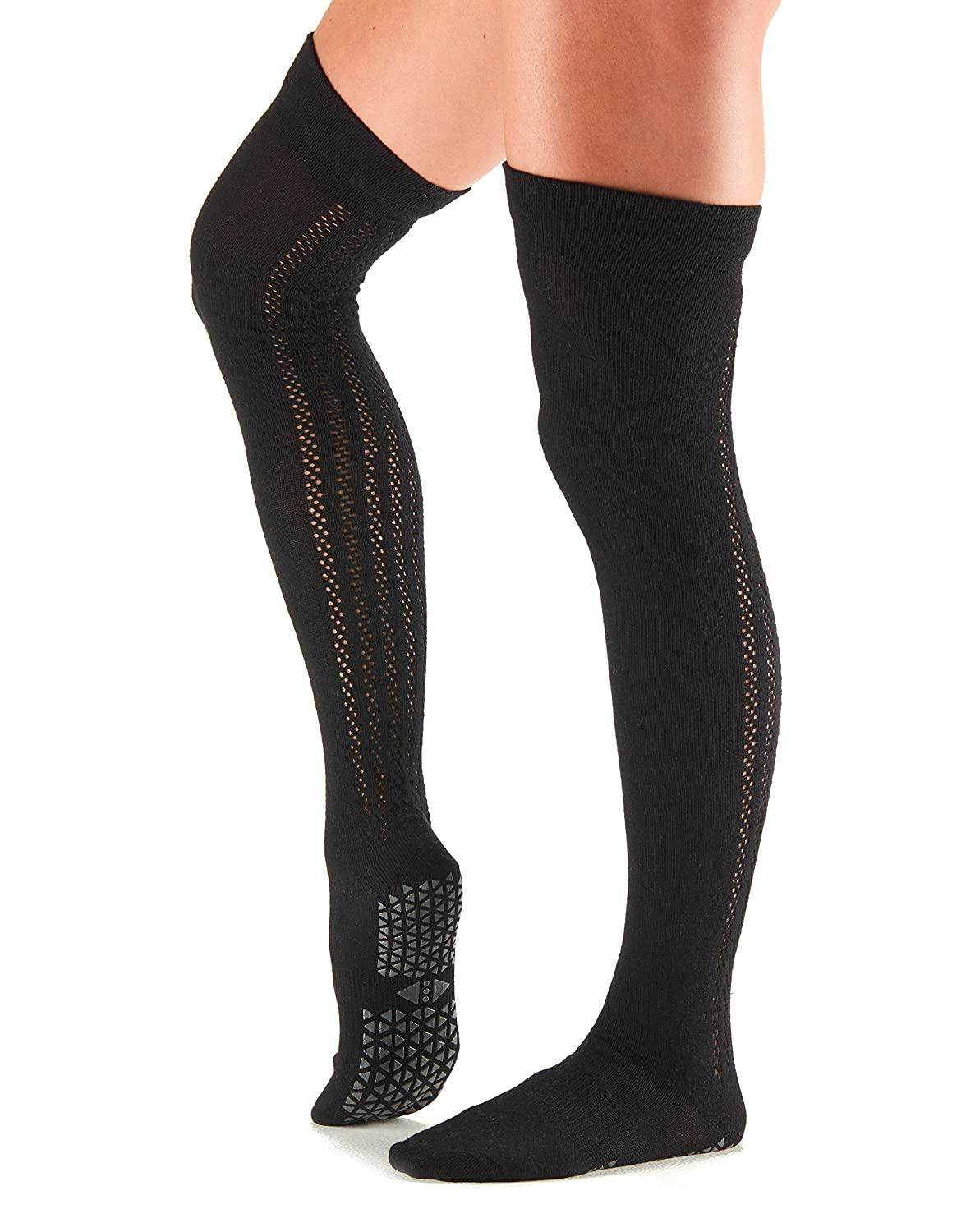Tavi Noir Grip Kris Over the Knee High Grip Socks for Barre, Pilates, and Yoga, Ebony, Small