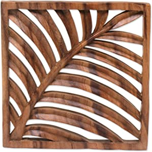 NOVICA Leaf and Tree Wood Wall Sculpture, Brown, Tropical Vibes'