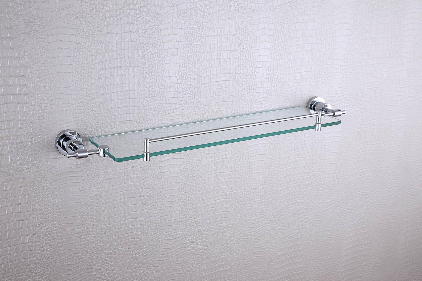 Cloud Power Wall-mounted Single Glass Shelves Brass Single Glass Shelves For Bathroom Single Glass Shelves With Chrome
