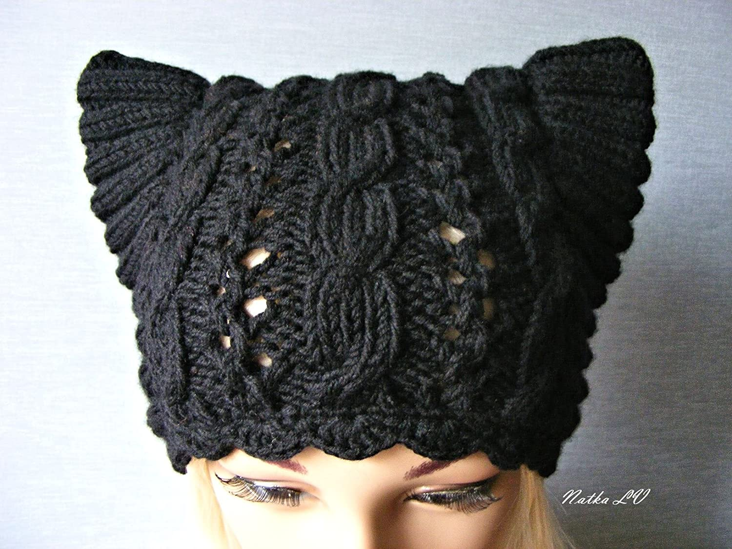 Knit cat hat, black cat hat, women's knitted hat, adult cat ear hat, knit wool beanie, teens animal hat, hat with small horns, winter wool hat, black pussy hat, handmade women' s knitted hat