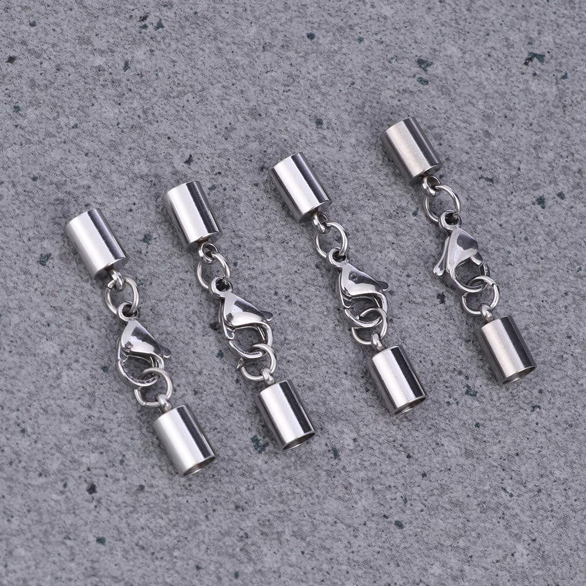 SUPVOX 4pcs embouts en acier inoxydable fermoir de fermoir /à pince de homard pour le bricolage artisanat fabrication de colliers bracelets fit trou: 4.0 mm