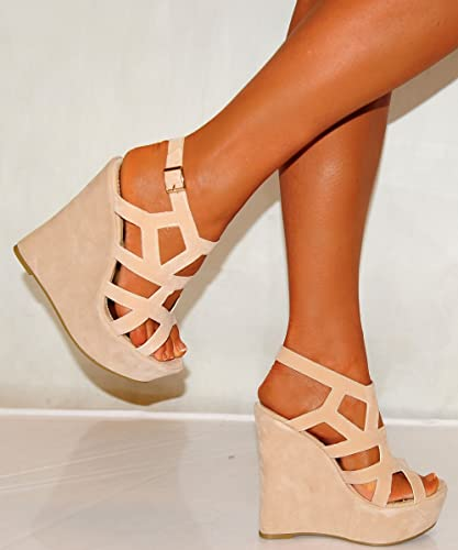 4ae1878697a Ladies Womens Cream Beige Faux Suede Strappy Sandals Cutout Wedges  Slingbacks Wedged High Heels Shoes 3
