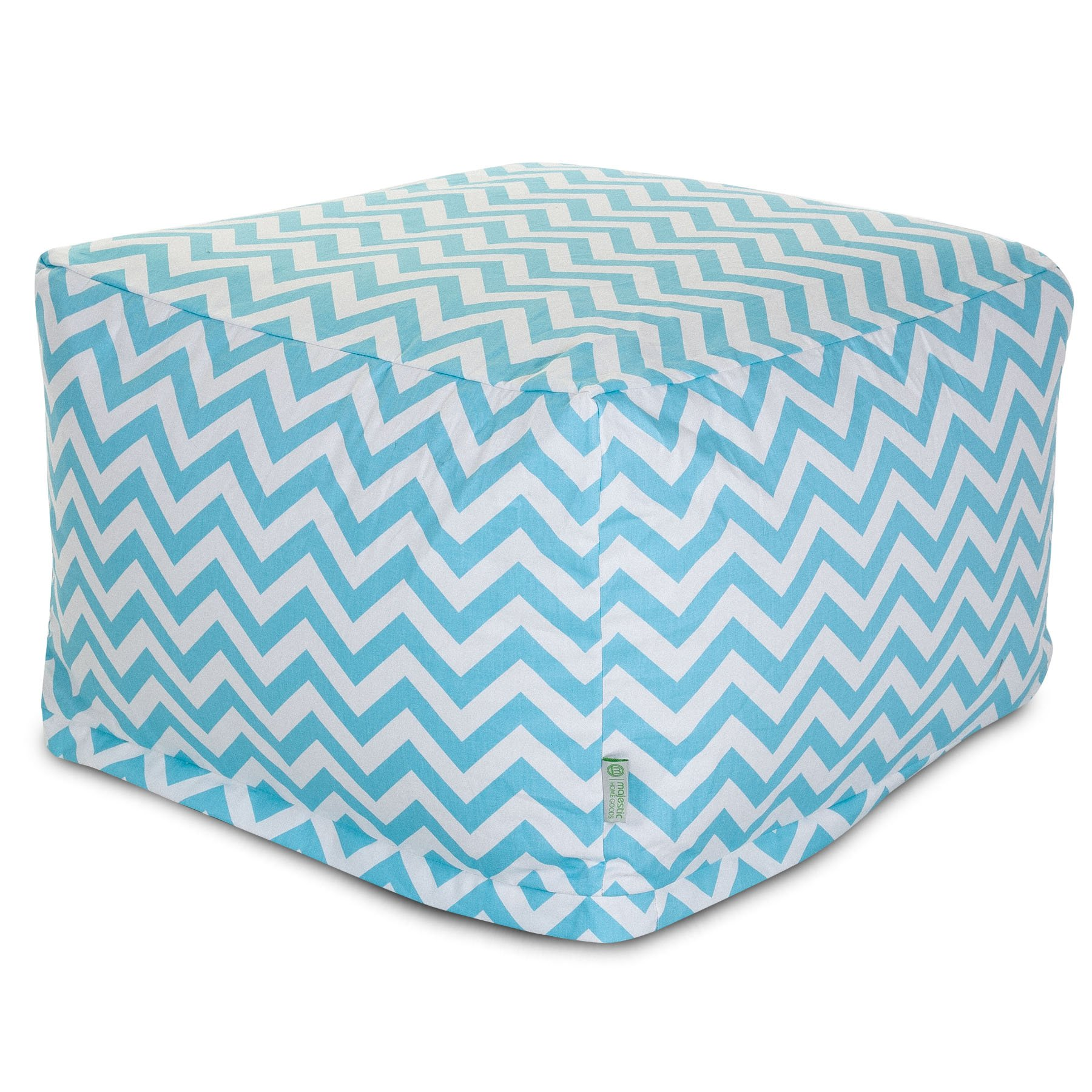 Majestic Home Goods Blue Chevron Large Ottoman
