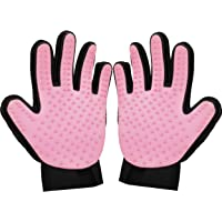 Zenify Cat Hair Remover Grooming Glove Mitt for Deshedding Fur from Cats, Kittens, Rabbits, Guinea Pigs (Light Pink - 2…