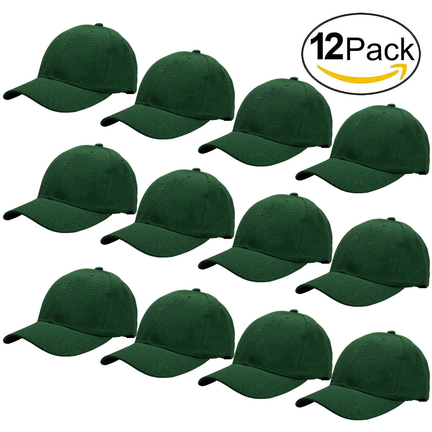 Falari Wholesale 12-Pack Baseball Cap Adjustable Size Velcro Closed Plain Blank Solid Color 63-G012-ASSORTED1