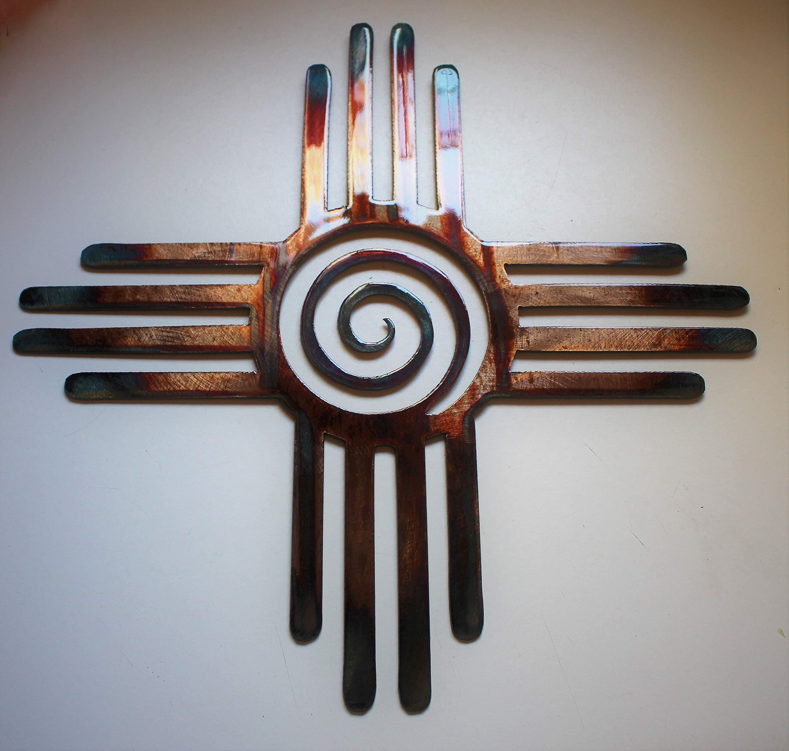 Southwestern Zia with Center Swirl Metal Wall Art Decor 14'', 24'' or 30'' by HG Artworks