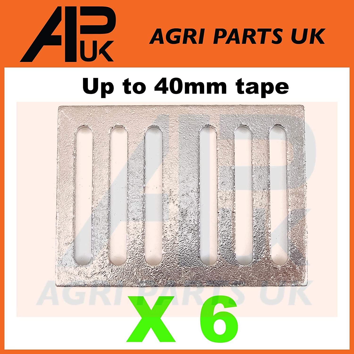 APUK 6 Electric fence fencing tape connector Plates Joiner 20/40mm Buckle connection Agri Parts UK Ltd