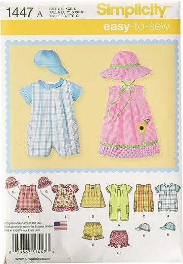 ثوب قصير للأطفال من Simplicity 1447، فستان علوي، ملابس داخلية، وقبعات أنماط الخياطة، المقاسات XXS-L