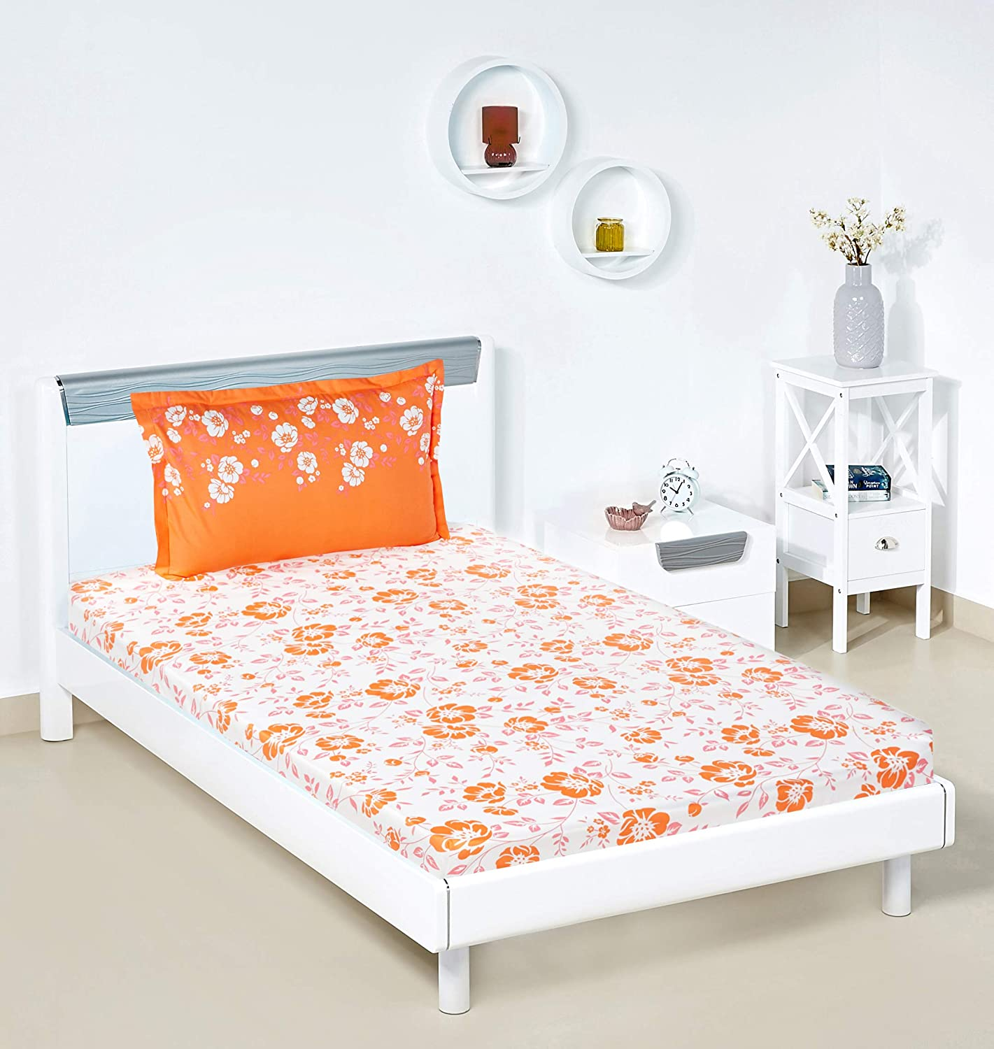 cded237f83 Amazon Brand - Solimo Jasmine Zest 144 TC 100% Cotton Single Bedsheet with 1  Pillow Cover, Orange: Amazon.in: Home & Kitchen