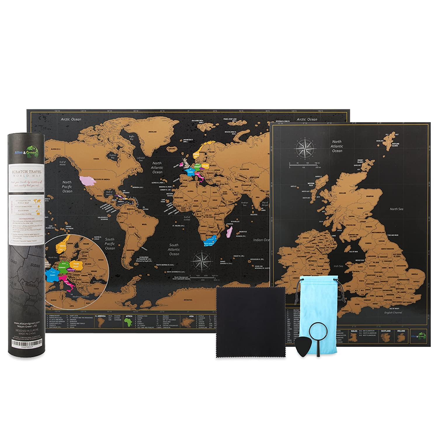 Scratch off world map a3 travel size 42 x 297cm bonus a4 uk map scratch off world map a3 travel size 42 x 297cm bonus a4 uk map with accessories kit and gift tube deluxe cartographic design by atlasgreen gumiabroncs Image collections