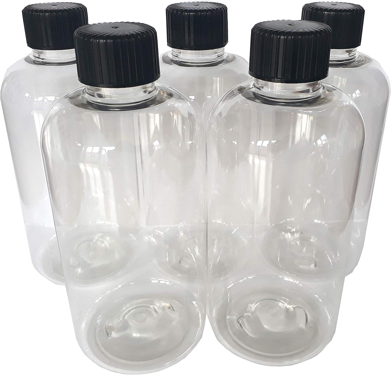 5 x 250 ml transparente PET botella de plástico vacía con negro ...