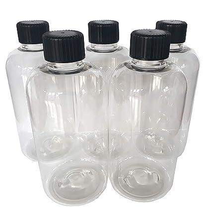 5 x 250 ml Transparente PET vacío Botella de plástico con negro Tapón de rosca –