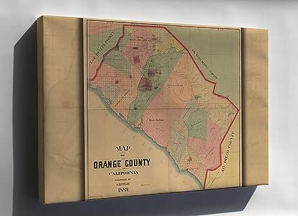 photograph regarding Printable Map of Orange County Ca identified as : Canvas 16x24; Map Of Orange County, California