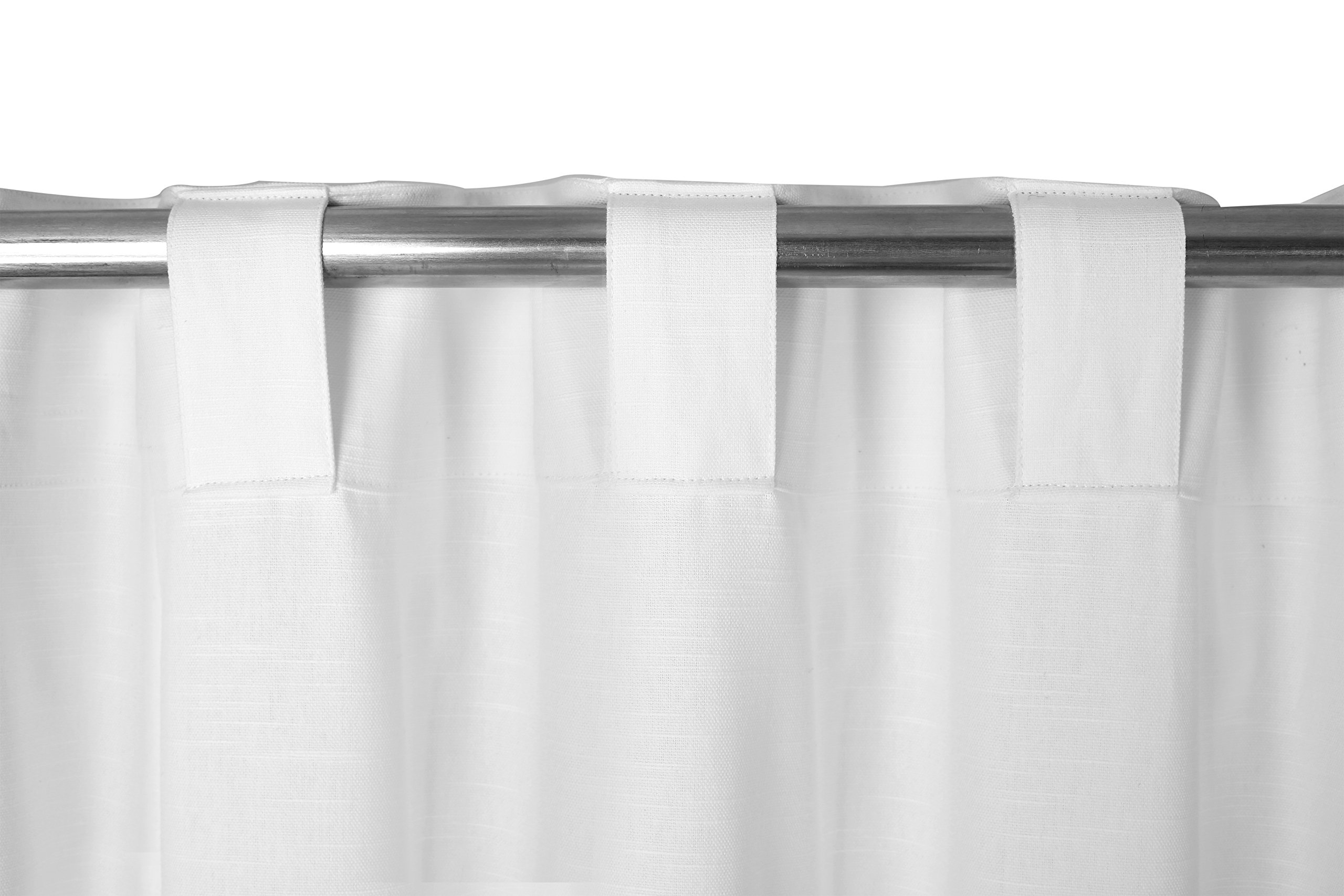 2Pack Cotton Duck Slub Back tab Curtain Panels 50x108 White. 100% Cotton slub Texture Fabric Curtain Panels Brings Classic Elegance in Everyday functionality.